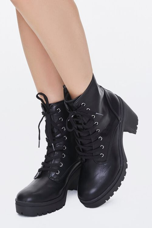 Lace-Up Faux Leather Booties, image 1
