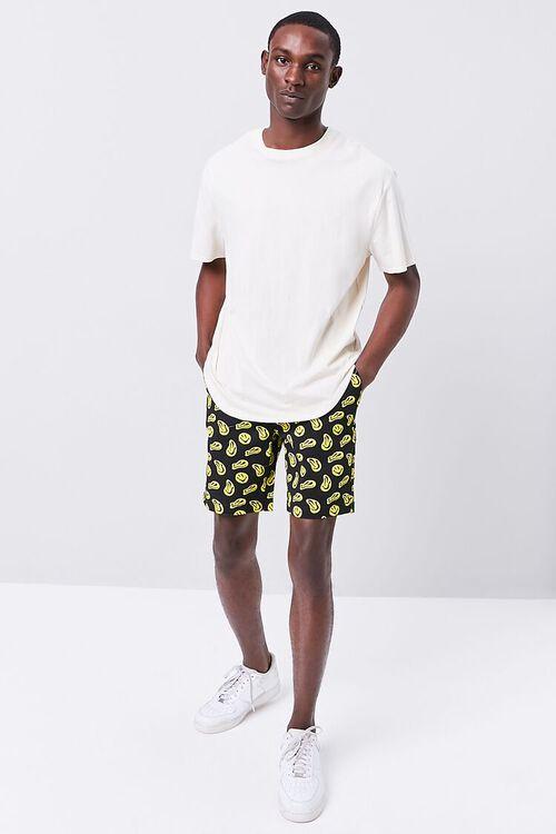 BLACK/YELLOW Smiling Face Print Drawstring Shorts, image 5