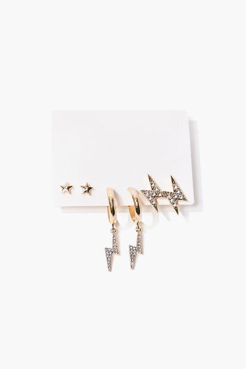 Thunderbolt Charm Hoop & Stud Earring Set, image 1