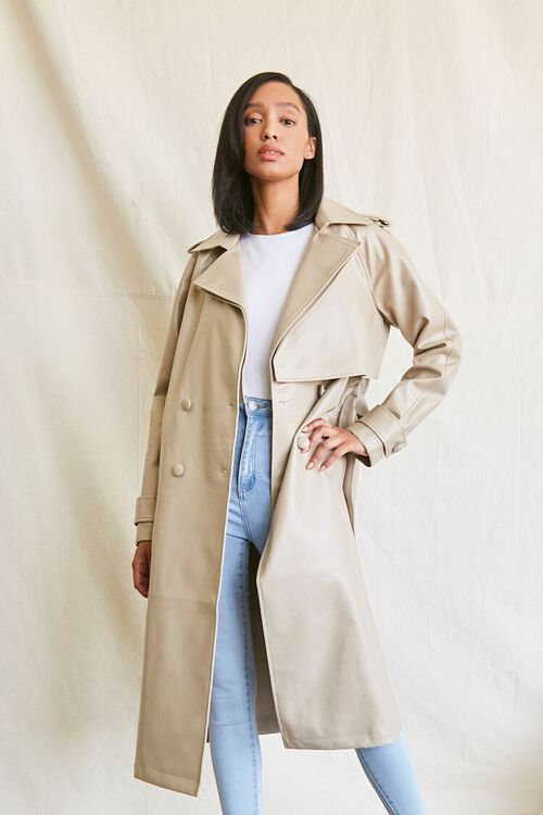 DESERT SAND Faux Leather Trench Coat, image 5