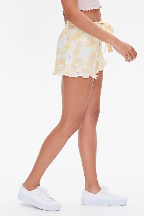 YELLOW/MULTI Floral Print Ruffle-Trim Shorts, image 3