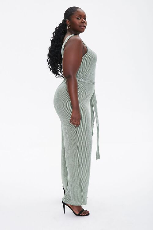 Plus Size Ribbed Pinstriped Jumpsuit, image 3
