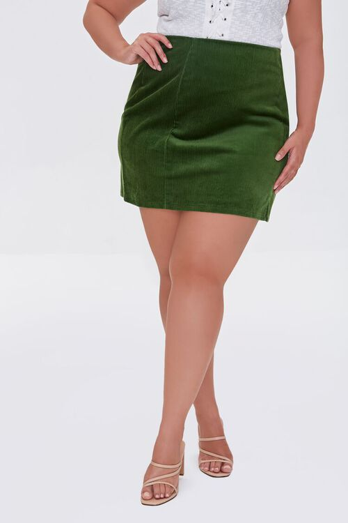 HUNTER GREEN Plus Size Corduroy Mini Skirt, image 2