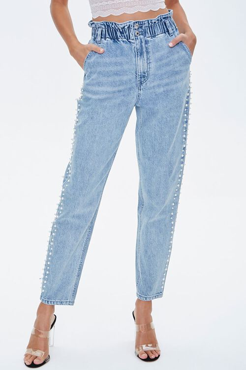 Faux Pearl Paperbag Jeans, image 2
