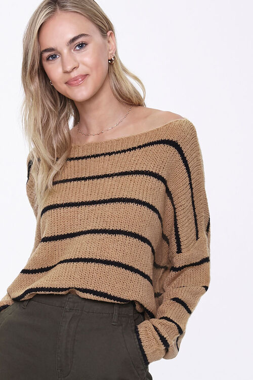 Striped Off-the-Shoulder Sweater, image 1