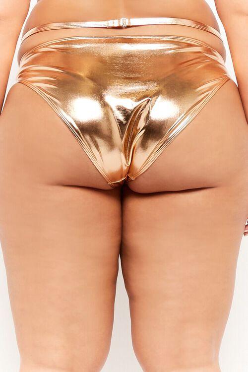 Plus Size Metallic Strappy String Bikini Bottoms, image 4