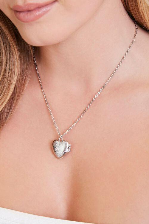 SILVER Heart Locket Pendant Necklace, image 1