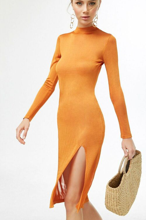 ORANGE Sheer Mock Neck Dress, image 1
