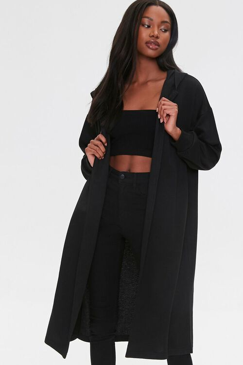 Fleece Hooded Duster Jacket, image 1