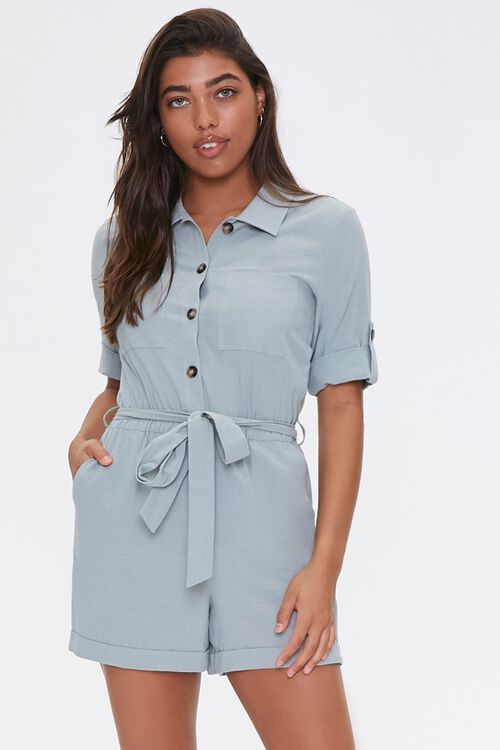 Cotton Button-Up Romper, image 1