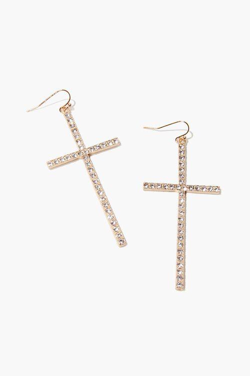 Rhinestone Cross Pendant Drop Earrings, image 1