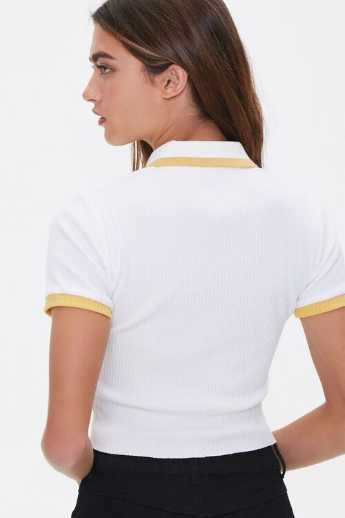 WHITE/MUSTARD Contrast-Trim Ribbed Polo Shirt, image 3