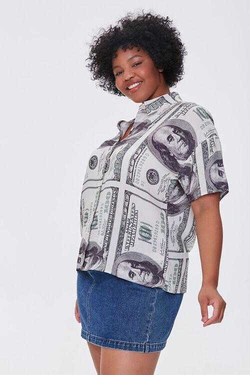 CREAM/BLACK Plus Size Hundred Dollar Bill Shirt, image 1