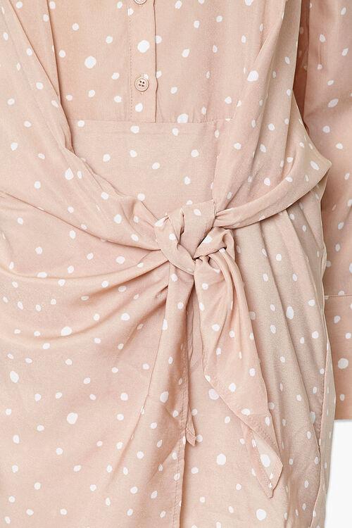 Knotted Polka Dot Shirt Dress, image 4