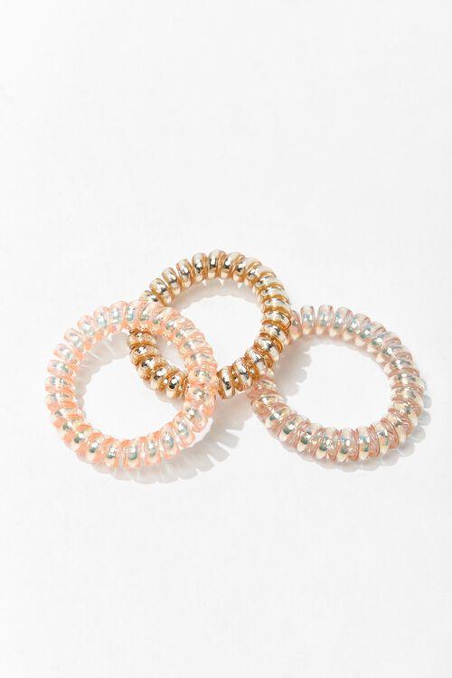 CHAMPAGNE/MULTI Iridescent Spiral Hair Tie Set, image 1