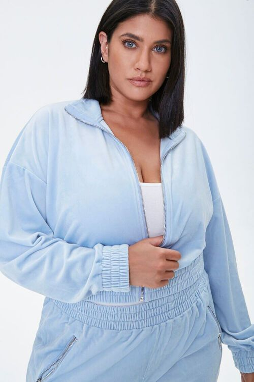 LIGHT BLUE Plus Size Velour Zip-Up Jacket, image 1