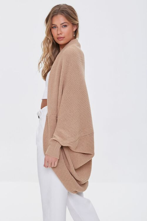 TAUPE Ribbed Open-Front Cardigan Sweater, image 2