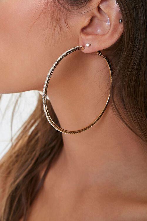 Oversized Rhinestone Hoop Earrings, image 2
