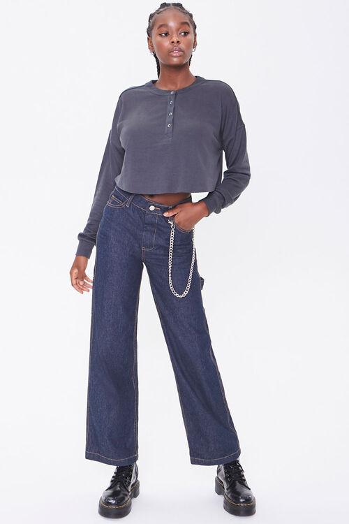 Slub Knit Henley Crop Top, image 4