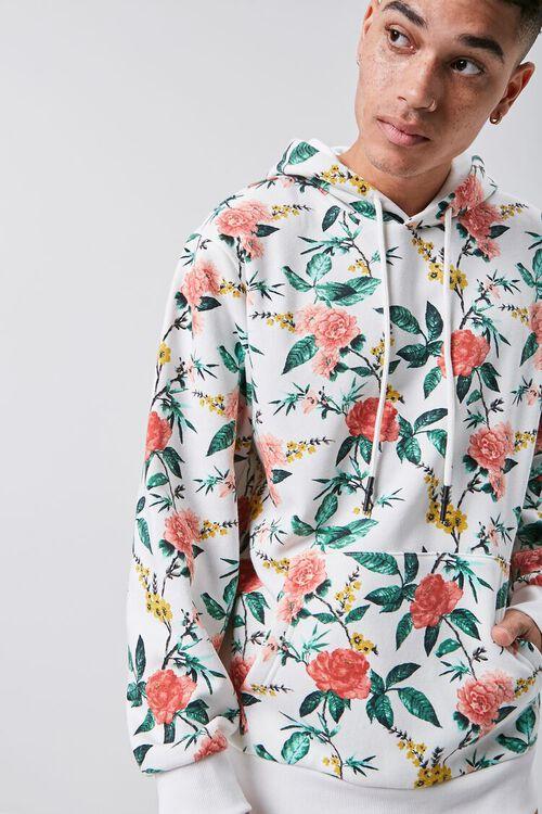 Floral Print Fleece Hoodie, image 1