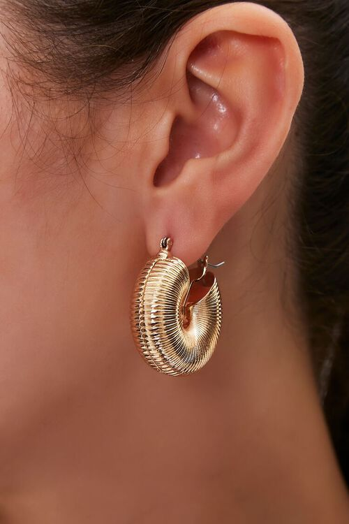 GOLD Etched Hollow Hoop Earrings, image 1