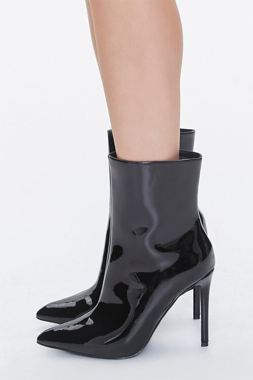 Faux Patent Leather Stiletto Booties, image 2