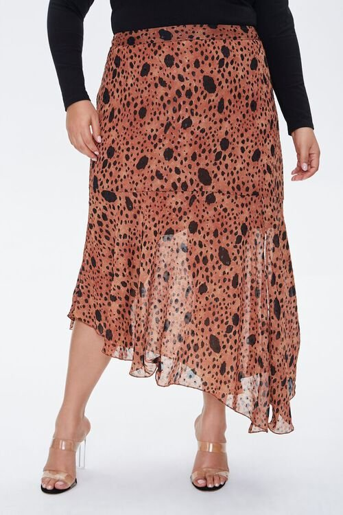 TAN/MULTI Plus Size Spotted Maxi Skirt, image 2