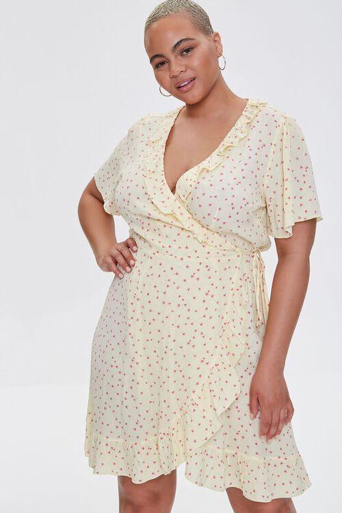 Plus Size Floral Print Wrap Dress, image 1