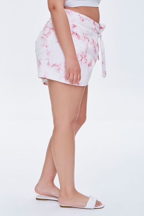 Plus Size Belted Tie-Dye Shorts, image 3