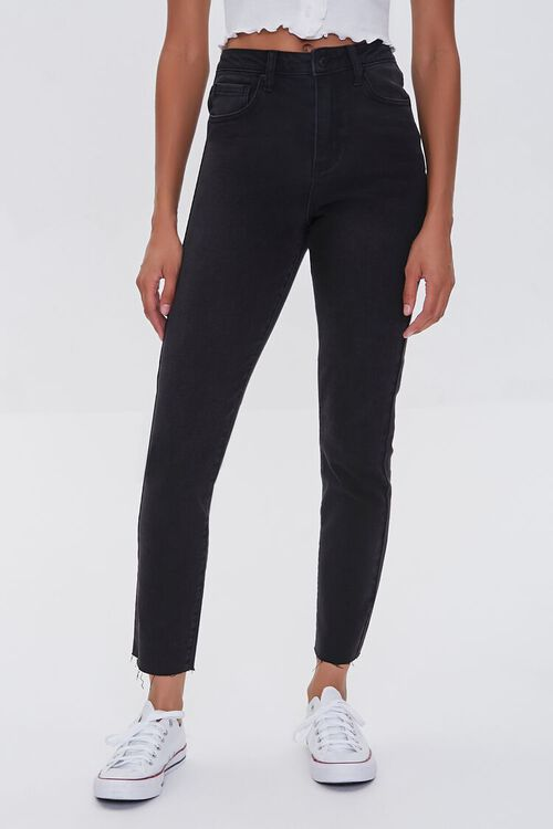 WASHED BLACK Essentials High-Rise Frayed Jeans, image 2
