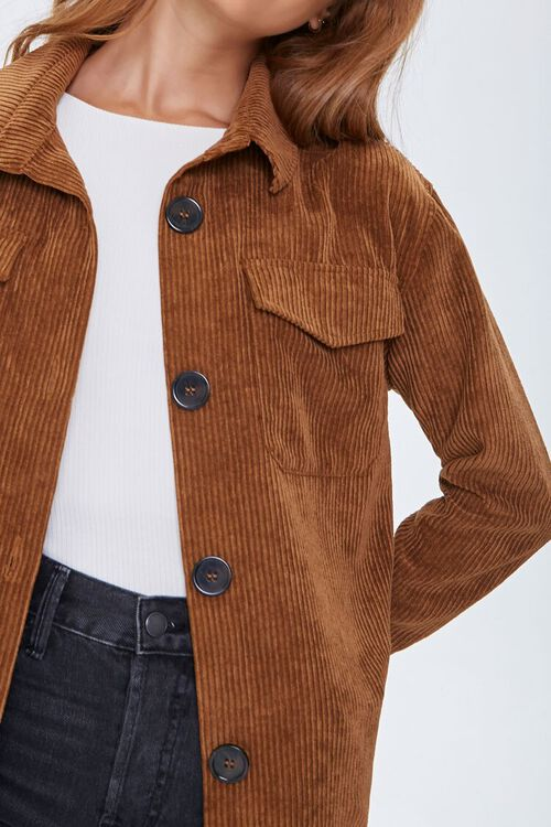 Corduroy Button-Front Shacket, image 5
