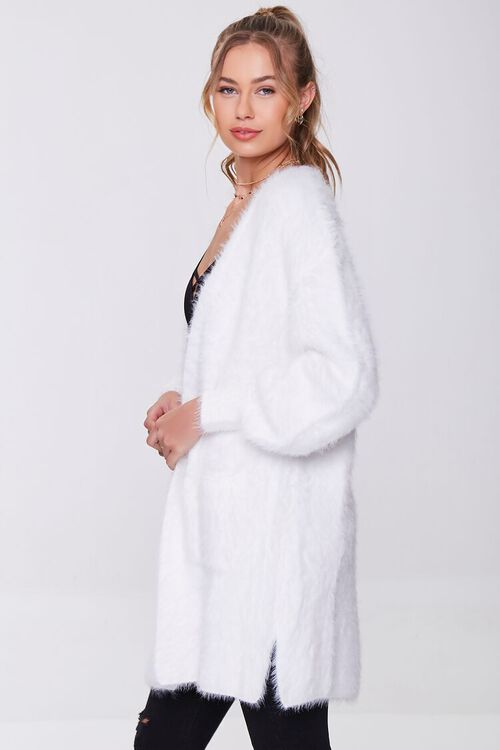 WHITE Fuzzy Knit Cardigan Sweater, image 2