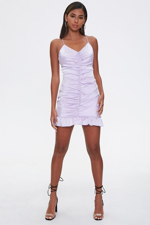 Ruched Satin Mini Dress, image 4