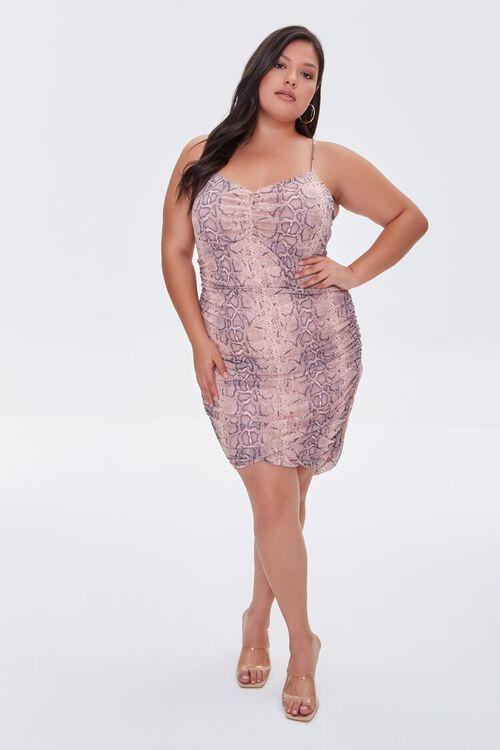 Plus Size Snakeskin Print Cami Mini Dress, image 4