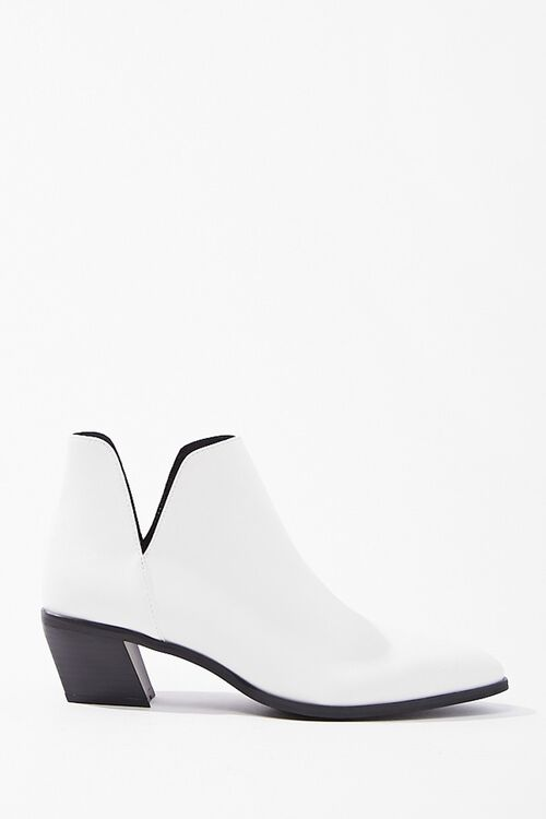 Notched Faux Leather Booties, image 1