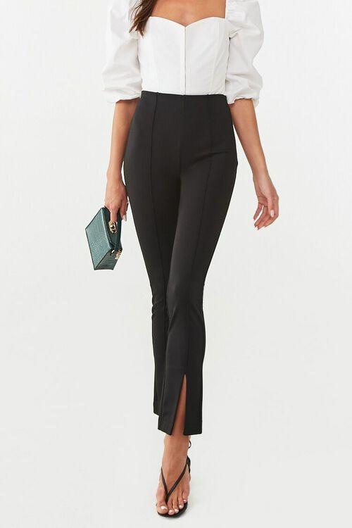Creased Slit-Hem Pants, image 2