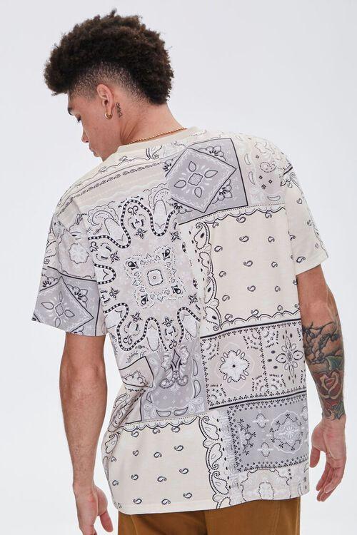 CREAM/BLACK Paisley Print Crew Neck Tee, image 3