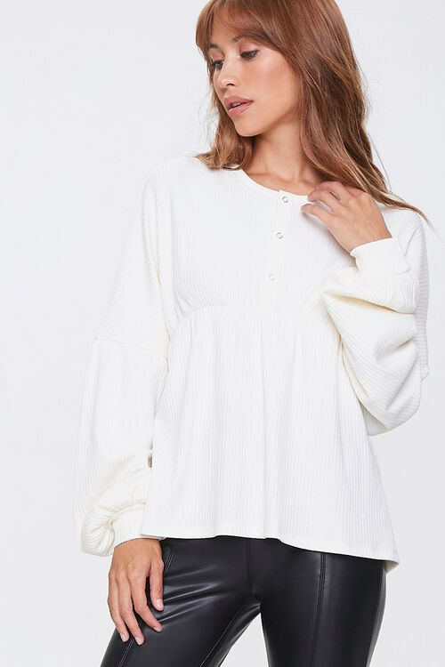 Ribbed Bell-Sleeve Top, image 1