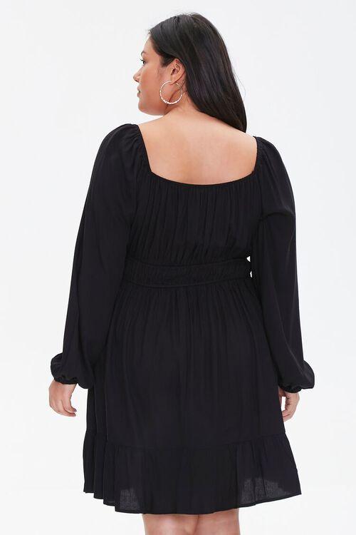 BLACK Plus Size Peasant-Sleeve Shirred Dress, image 3
