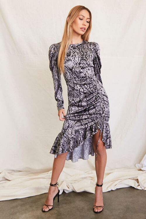 GREY/BLACK Satin Snake Print Dress, image 4