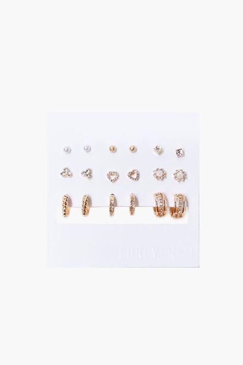 Rhinestone Stud & Hoop Earring Set, image 1