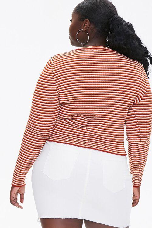 Plus Size Striped Cardigan Sweater, image 3