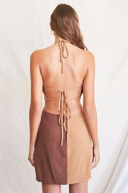 BROWN/LIGHT BROWN Colorblock Halter Mini Dress, image 3