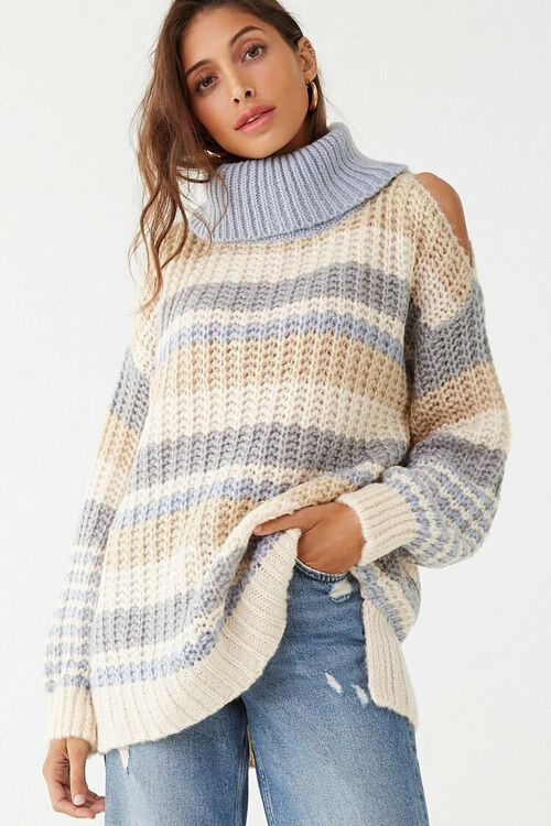 Striped Knit Turtleneck Sweater, image 1