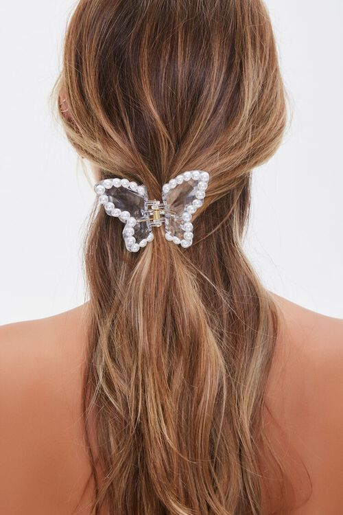 Faux Pearl Butterfly Claw Clip, image 1
