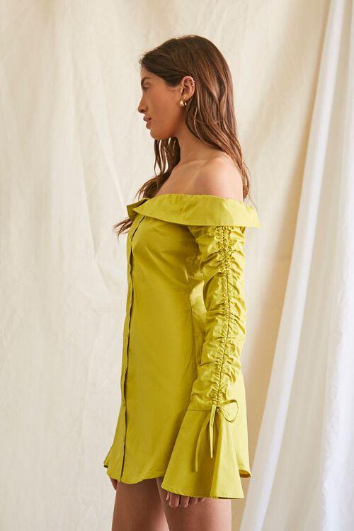 LIME Poplin Off-the-Shoulder Shirt Dress, image 2