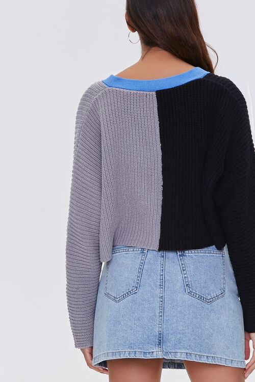 Cropped Colorblock Cardigan Sweater, image 3