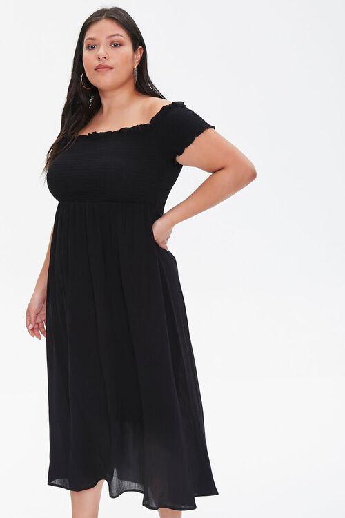 Plus Size Smocked Off-the-Shoulder Dress, image 4