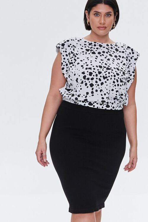 Plus Size Sweater-Knit Pencil Skirt, image 1