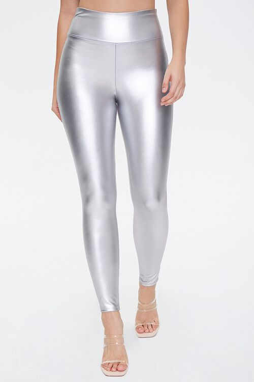 SILVER Faux Leather High-Rise Leggings, image 2